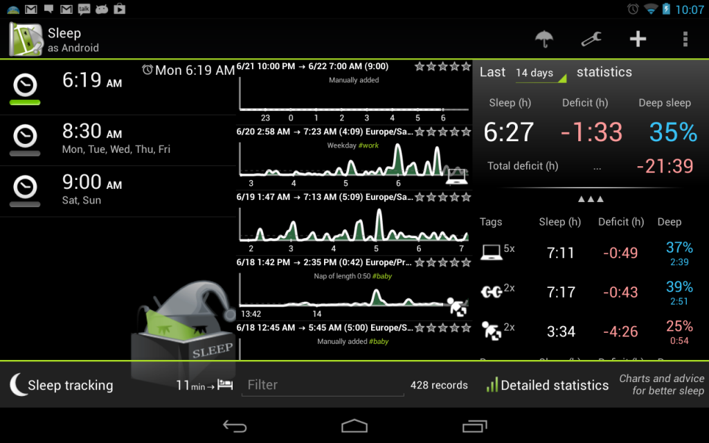 android sleeptracking