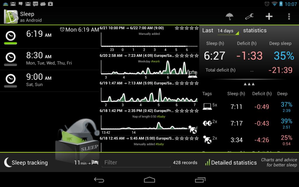 android sleeptracking